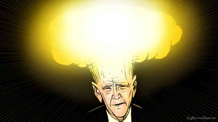 cartoon Biden with Mushroom cloud head