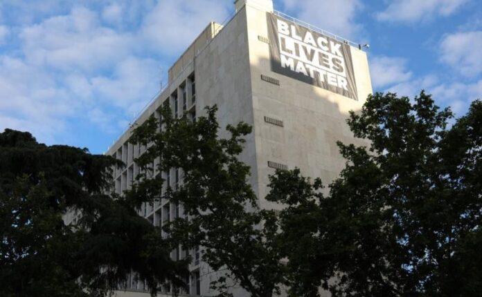Building with Black Lives Matter Banner