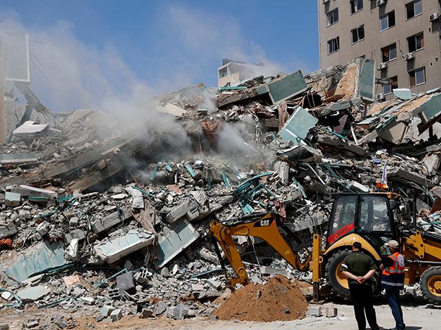 Building debris from rocket attack