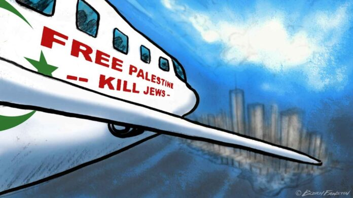 Cartoon plane heading for city with words Free Palestine Kill Jews